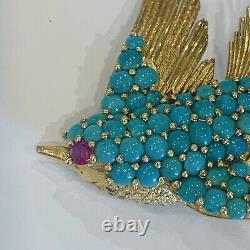J. Rossi 18k Brooch Estate Vintage Designer Signed Brooch Ruby Turquoise Bird