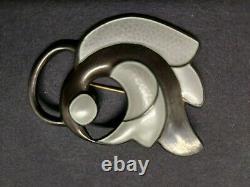 J Tostrup Brooch Pin Guilloche Enamel Sterling Abstract Bird Vintage 1950s
