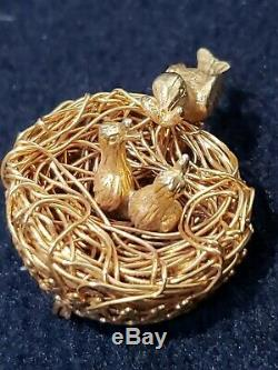Jeanne Gold Brooch Signed Birds in Nest Vintage Pin