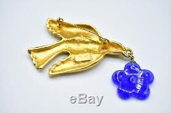 Kenzo Signed Vintage Brooch Pin Gold Bird Dove Blue Glass Flower Dangle Bin4