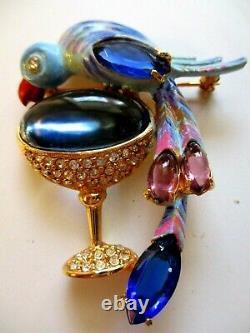 Kramer Jelly Belly Vintage Parrot Bird Brooch Pin Champage Glass Pave Rhineston