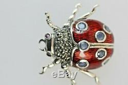 Lady Bug Lady Bird Vintage Brooch Pendant Marcasite Red Enamel