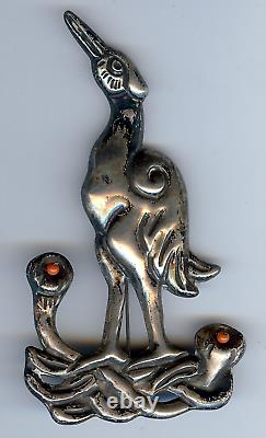 Large 1940's Vintage Mexico Silver Coral Beads Crane Bird Pin Brooch
