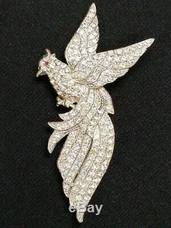 Large Antique 1940's Rhinestone Diamonte Paste Bird of Paradise Pin Brooch 4