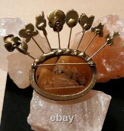 Large Goldette Stick Pin Bee Intaglio Cameo Woman Cupid Birds Vintage Brooch