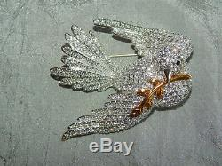 Large Vintage Joan Rivers Brooch Dove Bird with Olive Branch Pave Crystals #26-W