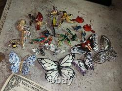 Lot 18 Vintage Enamel + Brooch Earrings Ring Pin Lot Butterfly Bee Birds Bugs
