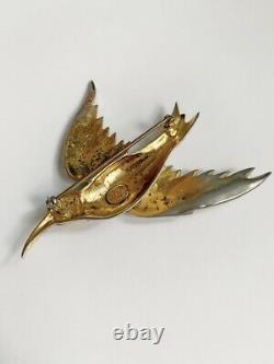 Lovely Large Vtg Paste Rhinestone Sterling By Corocraft Bird Swallow Brooch Pin