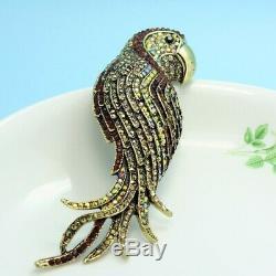 Luxury Noble Vintage Cute Birds Rhinestone Brooch Bouquet Trendy Pin Men Jewelry