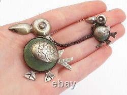 MEXICO 925 Silver Vintage Jasper Mom & Baby Toucan Birds Brooch Pin BP5744