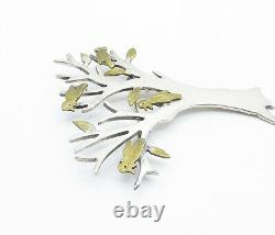 MEXICO 925 Silver Vintage Two Tone Birds Perched In A Tree Brooch Pin BP6155