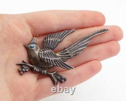 MEXICO 925 Sterling Silver Vintage Antique Turquoise Bird Brooch Pin BP2458