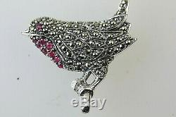 Marcasite Vintage Ruby Red Robin Bird Pendant/Brooch Solid Silver