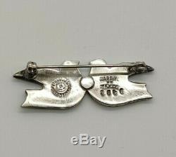 Margot De Taxco Vintage Sterling Silver Enamel Love Birds Doves Pin brooch
