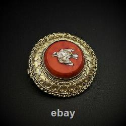 Micro Mosaic 10K Gold Brooch Pin, Dove Bird, Italy, Grand Tour Souvenir