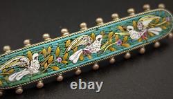 Micro Mosaic Brooch Antique Silver Bird Grand Tour Souvenir Italy