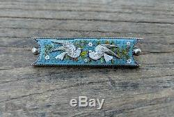 Micro Mosaic Dove Bird Brooch, Italy, Silver Setting, Victorian Italy Antique