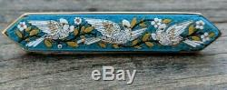 Micro Mosaic Dove Bird Brooch, Italy, Victorian Era Italian Antique