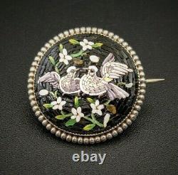 Micro Mosaic Silver Dove Bird Brooch Pin, Grand Tour, Italy