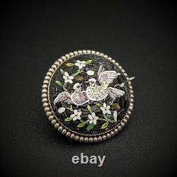 Micro Mosaic Silver Doves Brooch Bird Pin, Grand Tour, Italy
