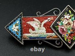 Micro Mosaic Swan Bird Bar Brooch Pin, Italian, Grand Tour, Victorian Souvenir