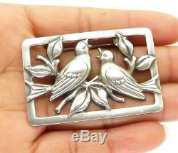 NORSELAND CORO 925 Silver Vintage Nesting Birds Motif Brooch Pin BP3632