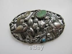 Neat Vintage Mexican Sterling Silver Pin Brooch Turquoise Birds Handmade