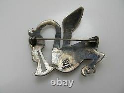 Old Cuzco Vintage Sterling Silver Enamel Bird Pin Brooch Modernist Abstract
