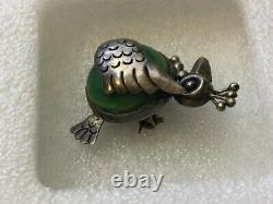 Old Vintage Mexico Taxco 980 Sterling Silver Green Stone Bird Pin Brooch