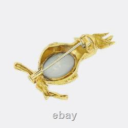 Opal Gold Brooch Vintage Opal, Ruby and Diamond Bird Brooch 18ct Yellow Gold