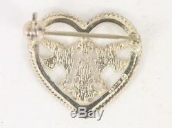 Ortak Love Birds Heart Shaped Brooch Sterling Silver Ladies Vintage 925 3g Ck59