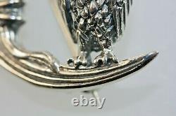 Owl Bird Brooch Celestial Moon Sterling Silver Vintage Style