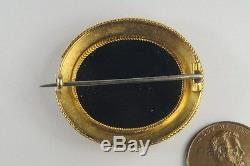 PRETTY ANTIQUE 15K GOLD MICROMOSAIC BIRD BROOCH c1880