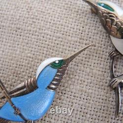 Pair Danish Silver Enamel Bird Brooch Ela Denmark Sterling Vtg Egon Lauridsen