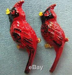 Pair Of Vintage Red Enamel Red Birds Pins Brooch Rafaelian Signed