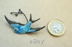 Paye & Baker BLUEBIRD BROOCH Pin Sterling Silver Enamel Marcasite VINTAGE 1930s