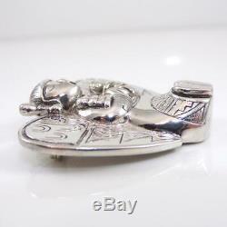 Phyllis Sklar Vintage Sterling Silver Birds Nest Modernist Pin Brooch LFJ5