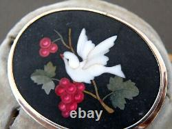 Pietra Dura Antique Brooch and Earrings bird and grape decor