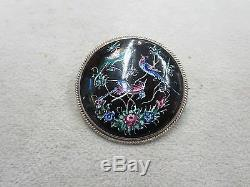 Porcelain Round Pin With Birds Vintage Brooch Costume Jewelry