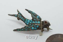 Pretty Antique European Silver Gilt Turquoise Swallow / Dove Bird Brooch