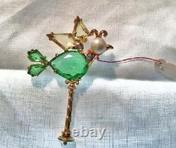 RARE Fabulous Schiaparelli Costume Antique Vintage Bird Brooch Pin