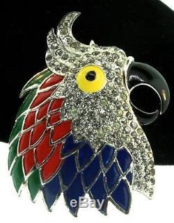 RARE Vintage BOUCHER Parrot Head Bird Figural Enamel Rhinestone Pin Clip Brooch