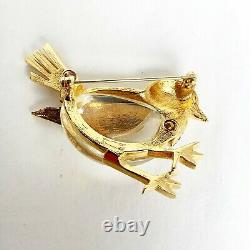 RARE Vintage Crown TRIFARI JELLY BELLY BIRD with Rhinestones Brooch Pin