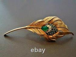 RARE Vintage MARCEL BOUCHER 8096 Peacock Blue Feather Plume exotic bird brooch