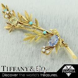 RARE Vintage Tiffany & Co. Diamond Turquoise Blue & Yellow Sapphire Bird Brooch