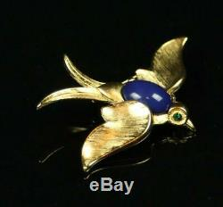 RARE Vtg TRIFARI Crown Swallow Bird Jelly Belly Gold PIN BROOCH Alfred Phillipe