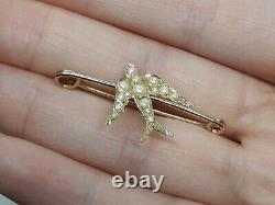 Rare Antique Victorian Solid 15ct Yellow Gold Swallow Bird Pin Brooch Seed Pearl
