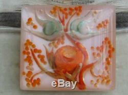 Rare Orange/green Vintage 40/50's Reverse Carved Lucite Birds Nest & Tree Brooch