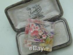 Rare Vintage 40/50's Reverse Carved Lucite Birds & Pink Flower Blossom Brooch