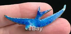 Rare Vintage Blue Flying Swallow Bird Enamel Brooch 2 Costume Jewelry Whimsical